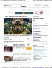 CERN - Large Hadron Collider - Particle Physics - A Giant Takes On Physics' Biggest Questions - NYTi