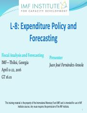 L-8 Expenditure Policy and Forecasting