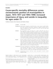 Fukuda et al's Cause-Specific Mortality Differences Across Socioeconomic Position of Municipalities