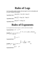 Rules of Logs and Exponents