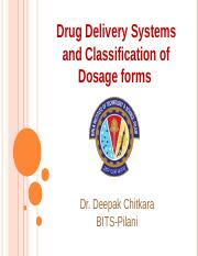 1 DDS Classification and components of dosage forms