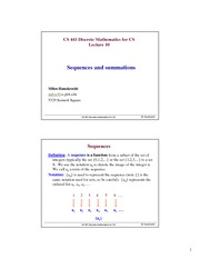 Lecture Notes on Sequences and Summations
