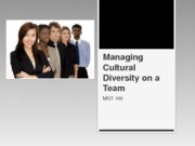 Managing Diversity on Teams