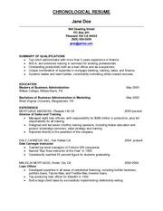 chronological resume sle responsibility for all