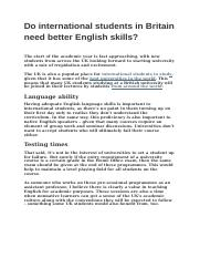 Do international students in Britain need better English skills