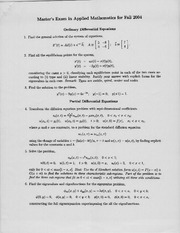 Abstract Algebra Ordinary Differential Equations Exam Study Guide Fall 04