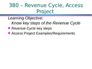 380 F15 Cl1b Revenue cycle