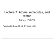 Bio Lecture 7 Atoms, Molecules, Water