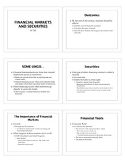 Financial Markets and Securities