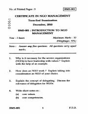 (www.entrance-exam.net)-IGNOU Certificate in NGO Management-Introduction to NGO Management Sample Pa