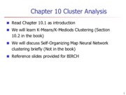 Lecture 10 Cluster Analysis