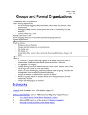 Groups and Formal Organizations Notes