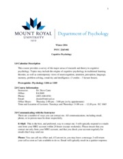 2265-002 Course Outline Winter 2016