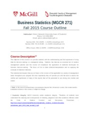 MGCR271 Course Outline Fall 2015