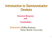 Lecture 11 - pn Junction IV - Transient Response and Nonidealities