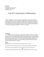 Lab #9: Conservation of Momentum