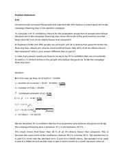 Estimation Analysis Problem Part Two