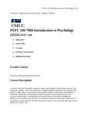 PSYC 100 7989 Introduction to Psychology (2152) - Syllabus