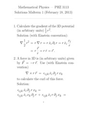 Midterm Exam 1 Solution on Mathematical Physics