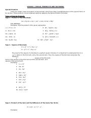 Lesson 3 Special Products and Factoring.docx