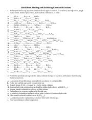 Worksheet Balancing Chemical Equations With Type Of Reaction Worksheet Writing And Balancing Chemical Reactions 1 Balance The Following Equations Course Hero