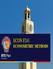 ECON F241 Testing of Hythopethis of Regression Coefficient