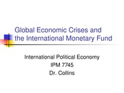 Week 6 -Economic Crises & the IMF