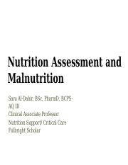 7 Nutrition Assessment Lecture February 17, 2016 15AY SA