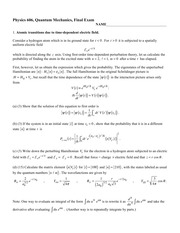 Sample Final Exam Fall 2014 on Quantum Mechanics