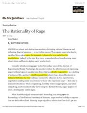 The Rationality of Rage - The New York Times