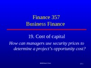 Notes 19.  Cost of Capital Fall 2013