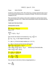 CHE 222 Spring 2014 Quiz 3 Solutions