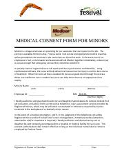 Medical Consent Form Minors