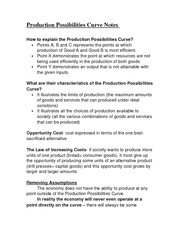 Production Possibilities Curve Notes