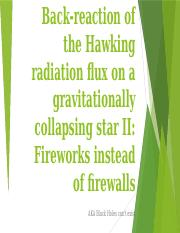 Ashour_Back-reaction of the Hawking radiation flux on a
