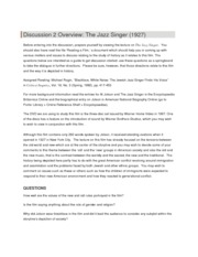 Discussion 2 Overview - The Jazz Singer