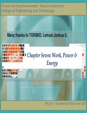 Chapter 7 – Work, Power and Energy