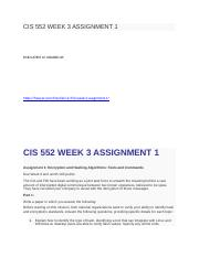 CIS 552 WEEK 3 ASSIGNMENT 1.docx