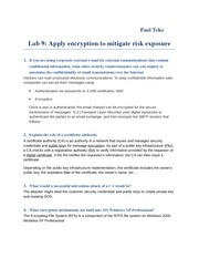 Lab 9 Apply encryption to mitigate risk exposure