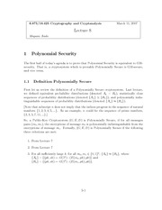 Polynomial Security notes