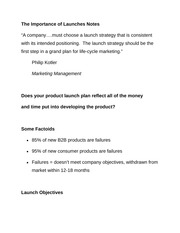 The Importance of Launches Notes