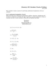 Chemistry 102 Calculator Practice Problems