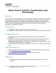 Neehr Perfect EHR Activity-Classifications & Terminology v2 hw.docx