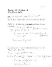 Lecture 19- The Chain Rule