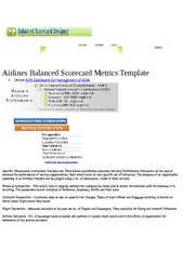 Airlines Balanced Scorecard Metrics Template
