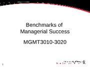 Benchmarks of Success