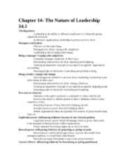 Chapter 14- The Nature of Leadership 14.1