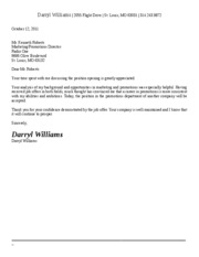 Job Offer Refusal Letter