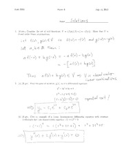 Sample Exam 3 Solution Summer 2014 on Differential Equations and Linear Algebra
