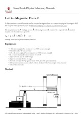 Lab 6 - Magnetic Force 2 [Stony Brook Physics Laboratory Manuals].pdf